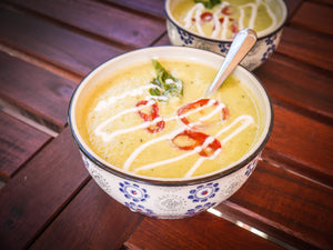 Zucchini Basil and Bell Pepper Soup