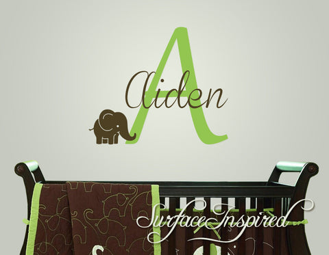 ... Name Wall Decal   Custom Name Elephant Monogram Wall Decals For Nursery  ...