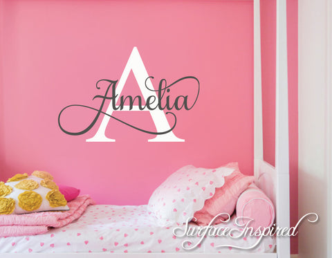 Nursery Wall Decal Personalized Names Wall Decals For Kids Amelia Style