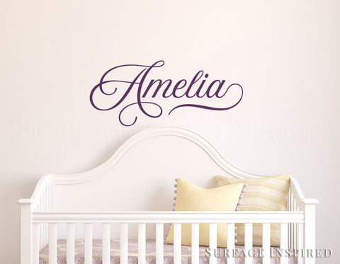 Nursery Wall Decal Kids Wall Decal Wall Decals For Girls or Boys. Wall Decals Personalized Names Amelia Calligraphic Style