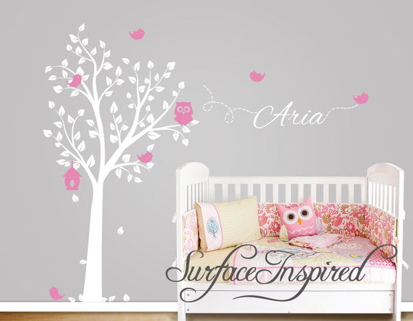 Aria Owl Tree Wall Decal With Birds And Custom Name Nursery Wall Decal Surface Inspired Home