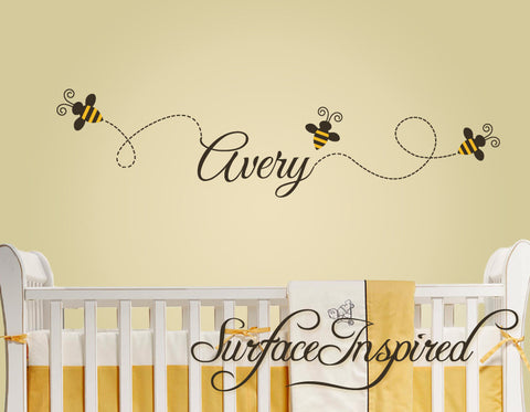 Buzzing bee wall decals with custom name. Bees and name wall decal included.