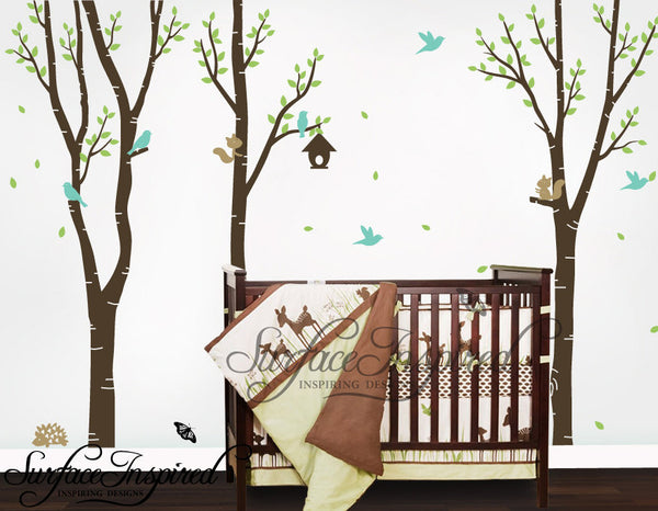 Nursery Wall Decals Baby Birch Tree Vinyl Wall Decals