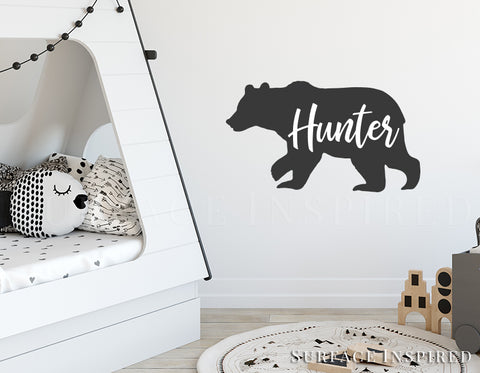 Bear Wall Decal Personalized Name Bear Silhouette with Custom Name Wall Decal Kids Nursery Scandinavian Black and White Wall Decals