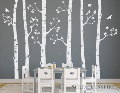 Nursery Wall Decals White Birch Trees Wall Decal Large Tree Wall Mural Stickers Nursery Tree and Birds Wall Art Nature Wall Decals Decor