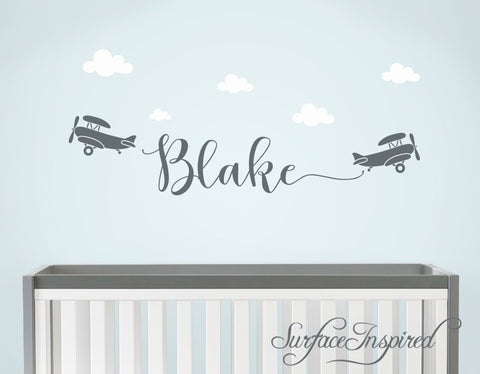 Custom Name Wall Decal - Personalized name wall decal with airplanes Blake Style Monogram