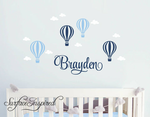Wall Decals Personalized Name Hot Air Balloons With Clouds Wall Decals Large Stickers Vinyl Decal Stickers Nursery Personalized Name Braydon Hot Air Balloons Style