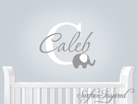 Monogram wall decal with modern elephant with different color ear and personalized name