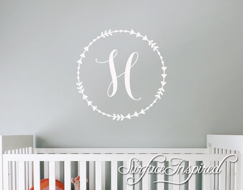 Personalized Wall Decal Circle Monogram for boys and girls rooms. Personalized wall decals made in any colors you want. Boho Initial Circle Decal