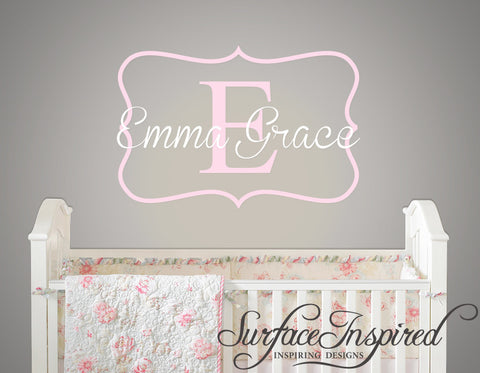 Name Wall Decal - Emma Grace Monogram Wall Decal for Nursery