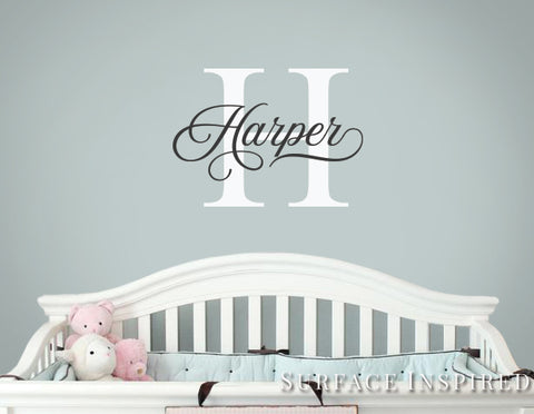 Personalized Name Monogram Wall Decal Vinyl Wall Art Harper Style Wall Decal