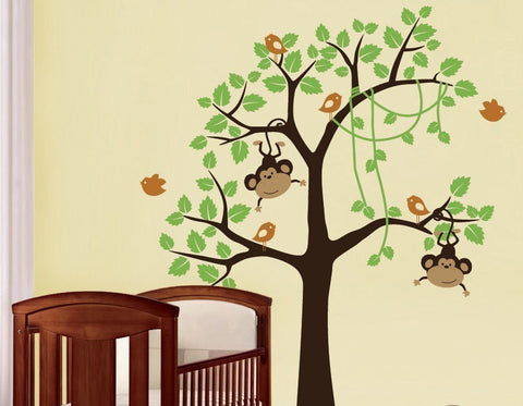 Nursery Wall Decals Jungle Monkey Tree Wall Decal