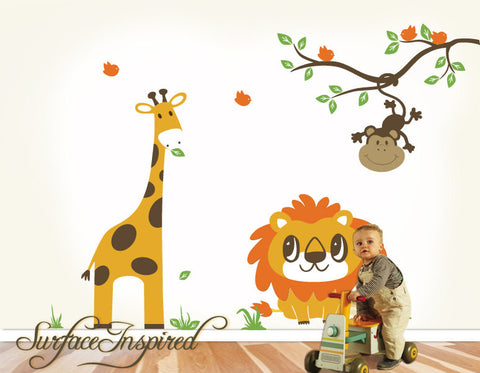 Jungle Giraffe, Lion And Monkey Wall Decal