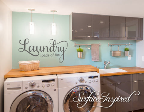 Laundry Loads of Fun Wall Decal Laundry Room Decal & Laundry Loads of Fun Wall Decal Laundry Room Decal u2013 Surface ...
