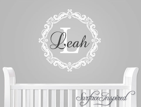 Vintage frame monogram wall decal with personalized name. – Surface ...