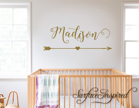Wall Decals Personalized Names Nursery Wall Decal Kids Madison With Arrow and Heart
