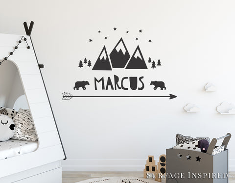 Wall decal kids mountain with name wall decals nursery personalized wall decal scandinavian arrow stars bears