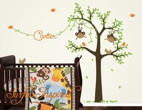 Monkey Tree Wall Decal with Custom Name - Monkeys and Birds on a Monkey Tree Wall Decal