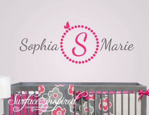 Name Wall Decal - Sophia Marie Monogram Wall Decals for Nursery