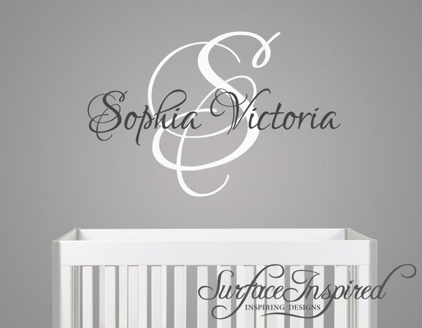 Name Wall Decal Sophia Victoria Monogram Wall Decals For