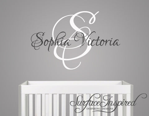 Name Wall Decal   Sophia Victoria Monogram Wall Decals For Nursery