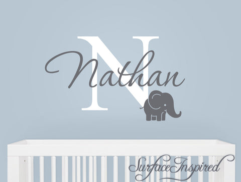 Monogram wall decal with adorable elephant and personalized name