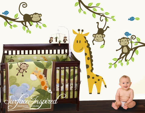 Nursery Braches with Monkey Vinyl Wall Decals