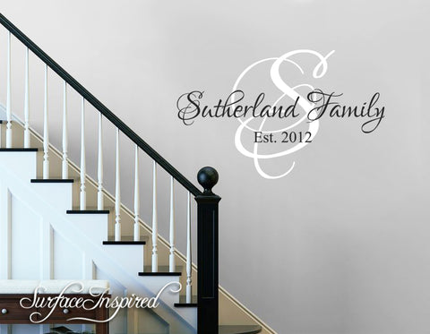 Wall Decals Quote - Personalized Family Name Wall Decal Name Monogram - Vinyl Wall Decal Family Wall Decal Sutherland Family Style Decal