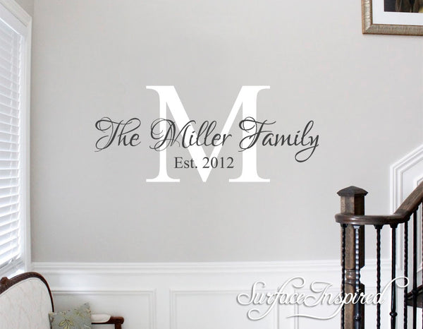 Personalized Family Name Monogram Wall Decal Vinyl Wall