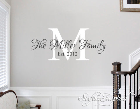Personalized Family Name Monogram Wall Decal Vinyl Wall Art Miller Family Style Decal