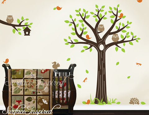 baby nursery wall decals tree branch with animal wall decal