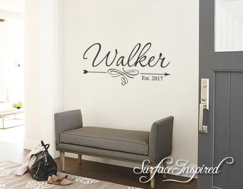 wall decals quote - personalized family name wall decal name