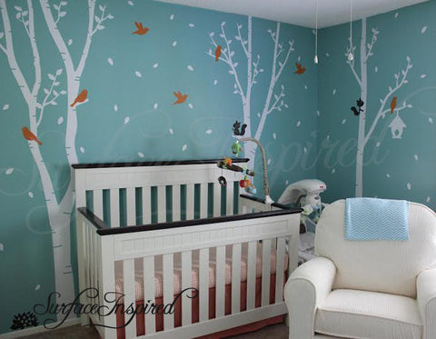 Nursery Wall Decal White Baby Birch Tree Wall Decals with Animals