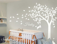Nursery Wall Decals Stickers Large Summer Tree with Custom Name Decal