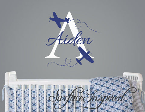 Name Wall Decal - Aiden Airplane Monogram Wall Decals for Nursery