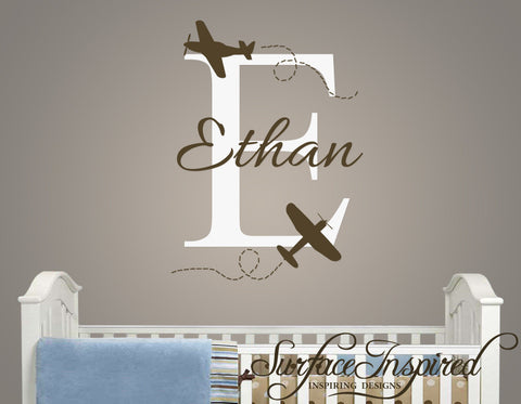 Name Wall Decal - Airplane Monogram Wall Decals for Nursery