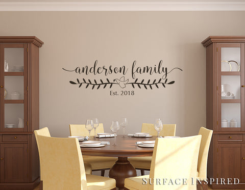 Personalized Family Name Monogram Wall Decal Vinyl Wall Art Anderson Family Style Decal