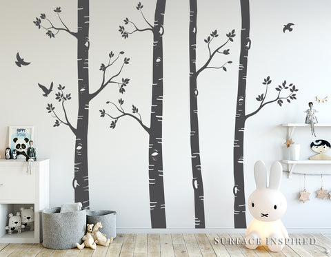 Nursery Wall Decals Birch Trees Wall Decal Large Tree Wall Mural Stickers Nursery Tree and Birds Wall Art Nature Wall Decals Decor 4 Trees pack