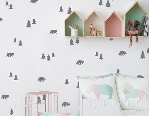 Wall Decals Bears and Trees Nursery And Home Wall Decal Decor Stickers Wall Decals Made in any colors you want!