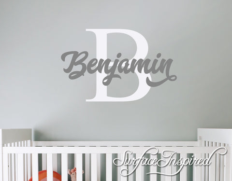 Nursery Wall Decals. Personalized names wall decal for boys and girls rooms. Personalized wall decal made in any colors and size you want Benjamin Style Decal