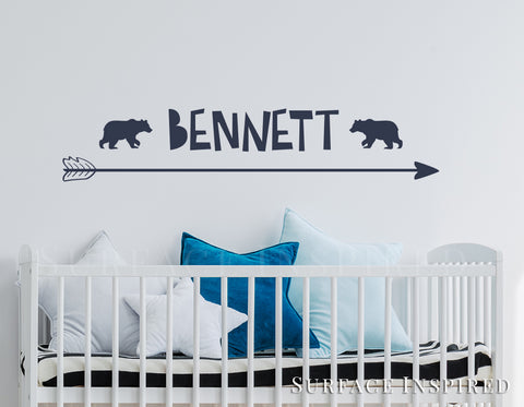 Wall Decals Personalized Names Nursery Wall Decal Kids Bennett With Arrow Wall Decal