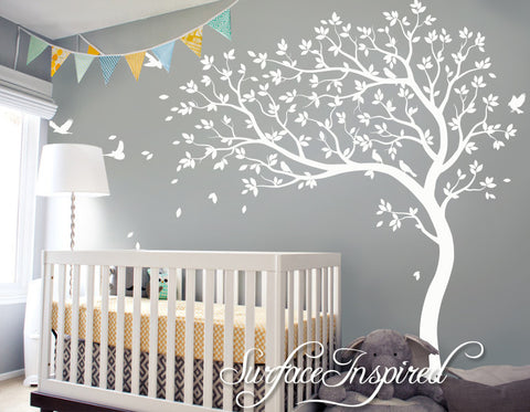 Large Whimsical Summer Tree Wall Decal with Birds. Get custom colors at no charge! 1023
