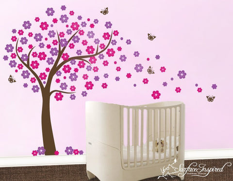 Nursery Wall Decals Big Blowing Cherry Blossom Tree Vinyl Wall Decal