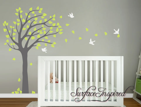 Nursery Wall Decal Blowing Summer Tree Wall Decal With Birds