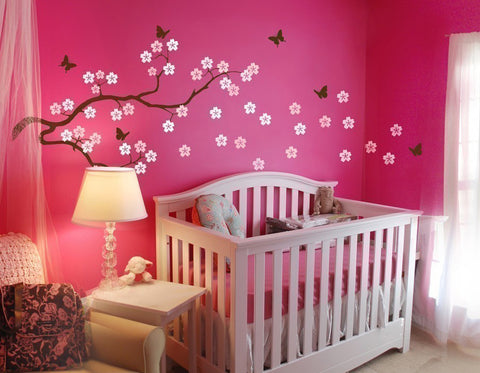 Nursery Wall Decals Blowing Cherry Blossom Branch Vinyl Wall Decal