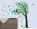 Nursery Wall Decals Blowing Owl Tree Vinyl Wall Decal