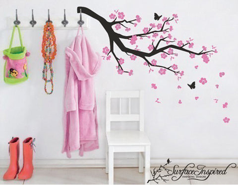 Nursery Wall Decals Blowing Pink Cherry Blossom Branch Vinyl Wall Decal
