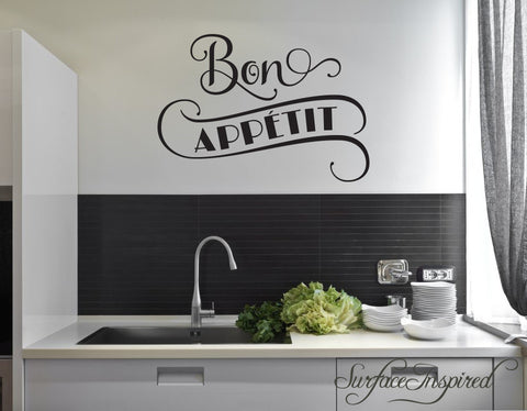 Wall Decal Quote Kitchen Dining Room Bon Appetite Wall Decal Wall Decals for Kitchen Dining Room