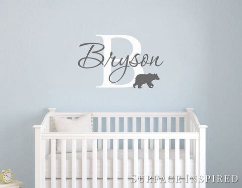 Monogram wall decal with a bear silhouette and a personalized name Bryson Style Decal