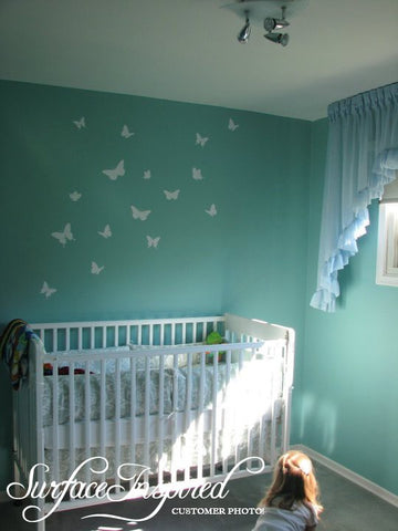Nursery Wall Decals Set of 16 Beautiful Butterfly Vinyl Wall Decals